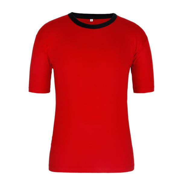 black collar red color blank shirt wholesale